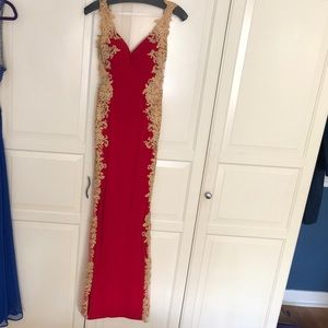 Beautiful red and gold prom dress